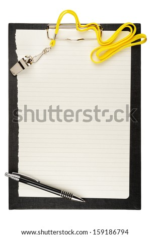 Clipboard with metal sport whistle, pen and paper sheet - stock photo