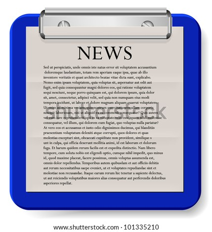 clipboard with news isolated on white