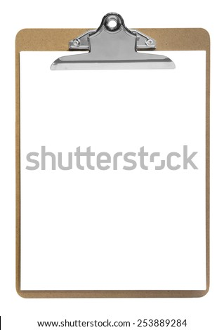 clipboard with paper isolated on white - stock photo