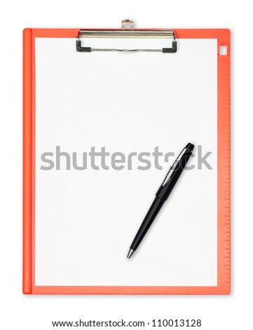 clipboard with  pen isolated on white