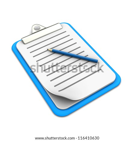 Clipboard with pencil on white background, 3d image - stock photo