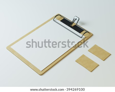 Clipboard with white paper and craft cards mockup - stock photo