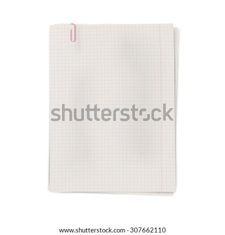 Clipped pile of squared sheets of notebook paper isolated - stock photo