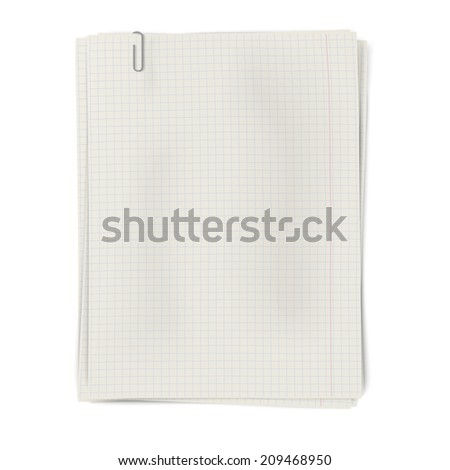 Clipped pile of squared sheets of paper isolated on white background. Raster version illustration. - stock photo