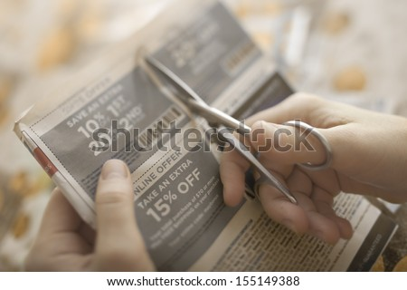 clipping abstract discount coupon   Tilt used to get off details - stock photo