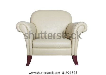 CLIPPING PART Cream leather sofa on a white background. - stock photo
