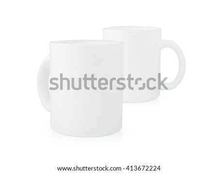Clipping path coffee mug on white background. Blank handle two ceramic cup. Empty object for your design. - stock photo