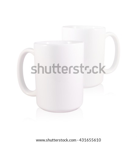 Clipping path coffee mug on white background. Blank handle two ceramic cup. Empty object for your design.