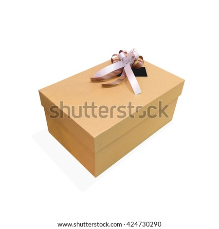 Clipping path gift box. Gift box. Gift box isolated. Ribbon gift box. Bow and gift box. Deliver mail. Mail box. Product box. Cargo box. Closed gift box. Surprise gift box. Gift package. Brown box. - stock photo