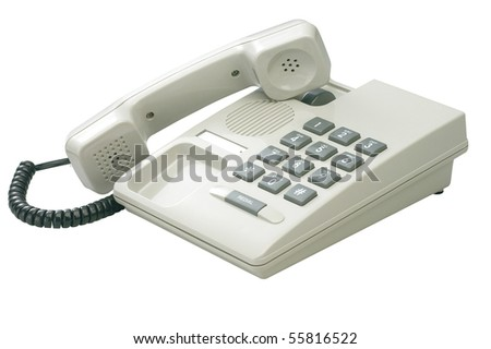 clipping path of the single line phone - stock photo