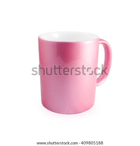 Clipping path pink coffee mug on white background. Blank handle ceramic cup for your design. - stock photo