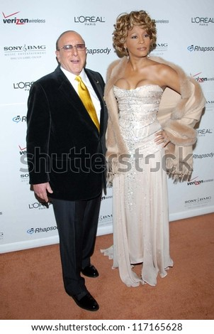Clive Davis and Whitney Houston at the 2007 Clive Davis Pre-Grammy Awards Party. Beverly Hilton Hotel, Beverly Hills, CA. 02-10-07 - stock photo