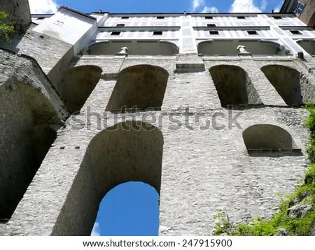 Cloak Bridge in Cesky Krumlov Castle in Czech Republic - stock photo
