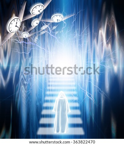 Cloaked figure stand upon stairs with energy above - stock photo