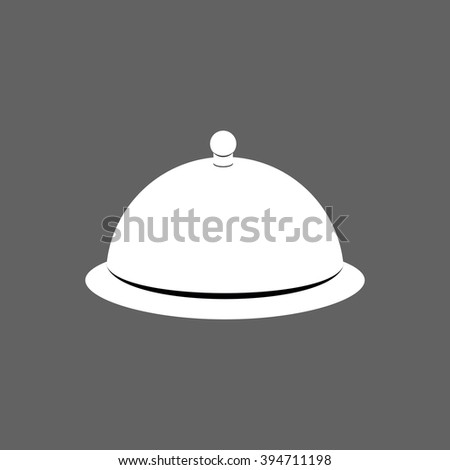 Cloche. Cover for hot dishes. Accessory cooks and cook. Subject of tableware. Iron cover and plate for eating. - stock photo