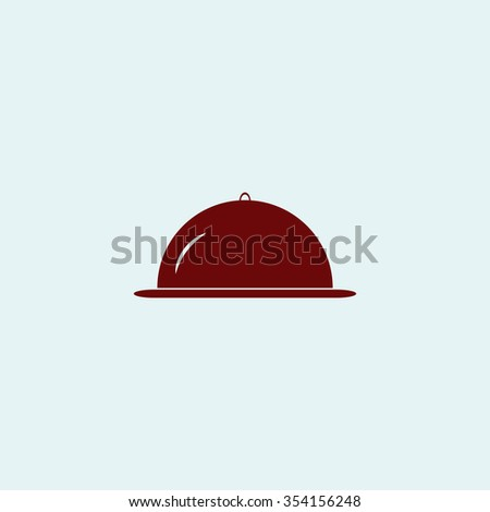 cloche Red flat icon. Simple illustration pictogram - stock photo