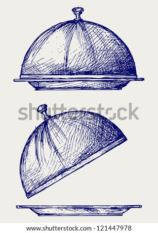Cloche with open lid. Doodle style. Raster version - stock photo