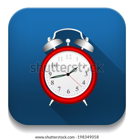 Clock Alarm icon With long shadow over app button