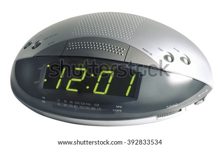 clock alarm radio digital time morning number minute time hour waking - stock photo