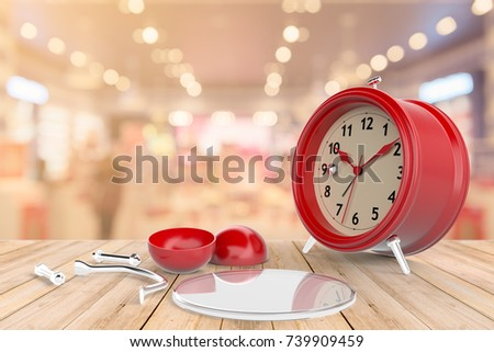 Clock Alarms Red Dismounted Posed On A Table Out Of Wooden, Shopping Mall  In Background