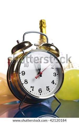 Clock, alcohol, champagne
