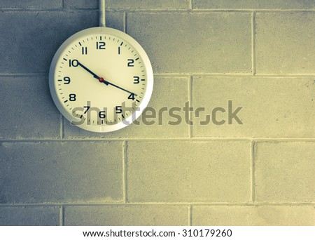 clock analog Wall background running - stock photo