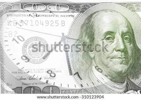 Clock and American banknote - stock photo