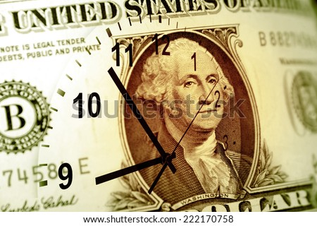 Clock and American banknote. Time is money concept - stock photo
