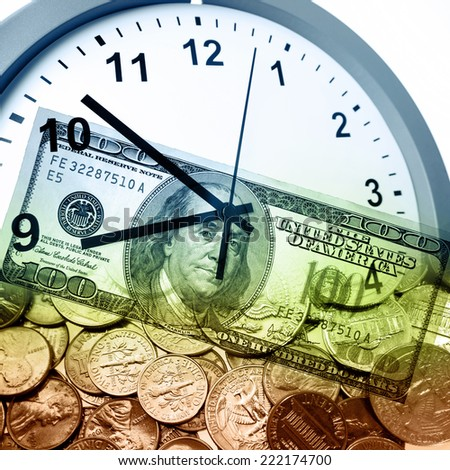 Clock and American currency. Time is money concept - stock photo