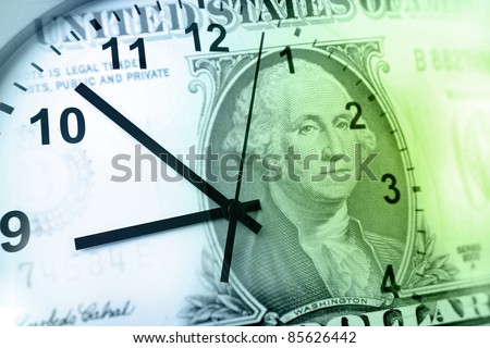 Clock and banknote. Time is money concept - stock photo