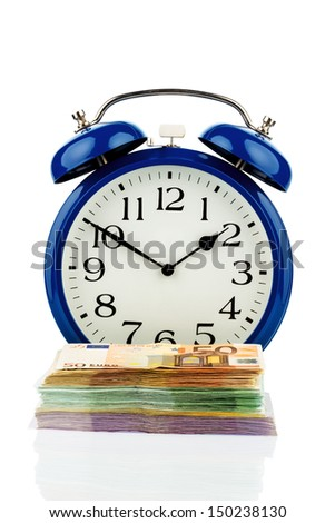 clock and banknotes, symbolic photo for wage costs, labor costs, working time - stock photo
