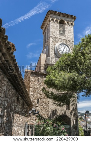 Clock and bell tower of Church of Notre Dame D'esperance - famous landmark in Cannes city, France.