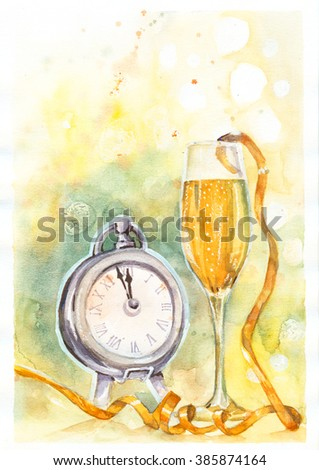 Clock and glass of champagne