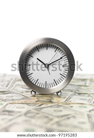 Clock and Money on white Background