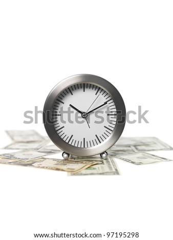 Clock and Money on white Background - stock photo