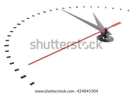 Clock and timestamp without numbers. Isolated. 3D illustration - stock photo