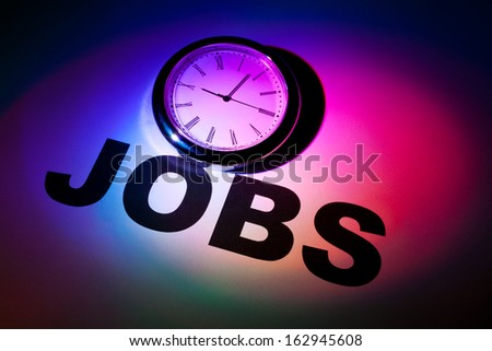 Clock and word of Jobs for background  - stock photo