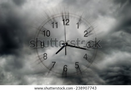 clock between thunderclouds