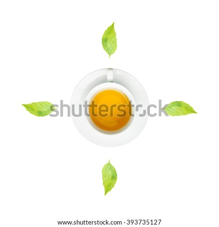 clock. cup of fresh tea and clock sign with white background.
