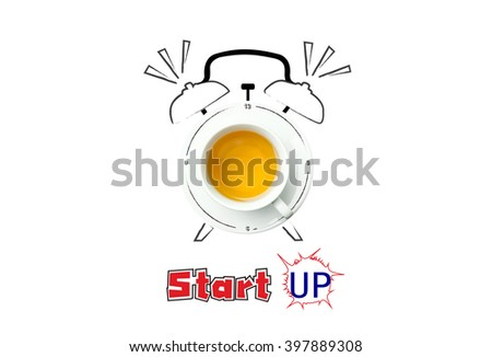 clock. cup of fresh tea with clock sign and startup concept.  - stock photo