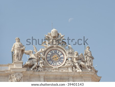 clock detail on St Peters basilica in Vatican City, Rome Italy - stock photo
