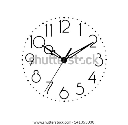 Clock dial in black and white isolated on background. Arable numerals