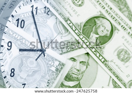 Clock face and American currency