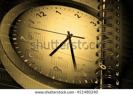 Clock face and calendar composite - stock photo