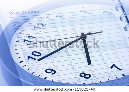 Clock face and year planner