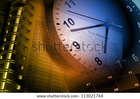 Clock face, calendar and year planner - stock photo