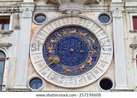 Clock face in the Clock Tower, Piazza San Marco. Venice, Italy