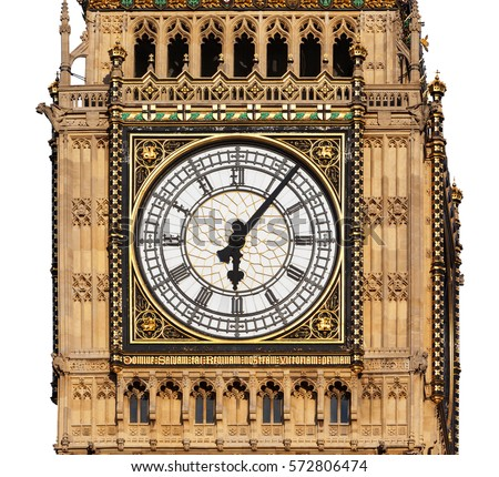 Clock face of Big Ben in Westminster, London, cut out with a white background.