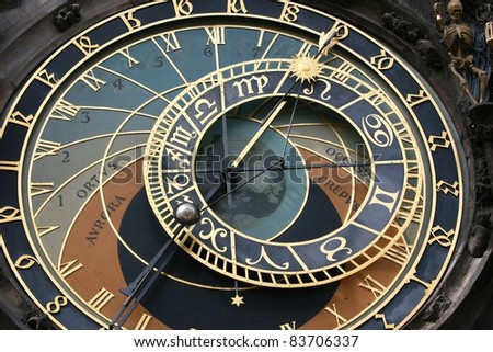 Clock face of the astronomical clock in Prague.  Skeleton could be seen as showing time as limited