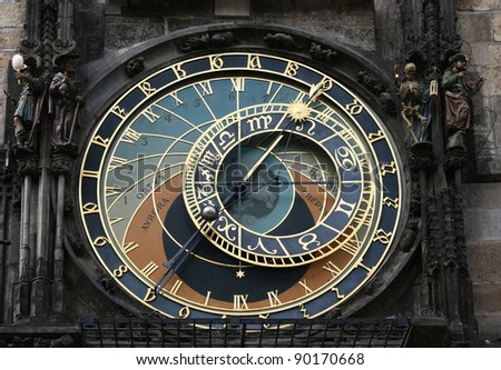 Clock face of the astronomical clock in Prague.  This is a must see sight in Prague, Czech Republic.